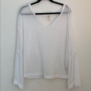 White bell sleeve free people top